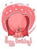 生日快乐与逗人喜爱的动画片大象的贺卡 免版税库存图片