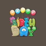 生日快乐与逗人喜爱的动画片妖怪的贺卡 免版税库存照片