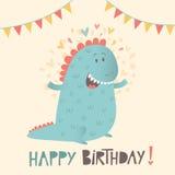 生日快乐与逗人喜爱的恐龙的贺卡 免版税库存照片