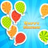 生日快乐五颜六色的补花背景 库存照片