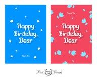 生日快乐亲爱的嫩和逗人喜爱的问候设计明信片 免版税图库摄影