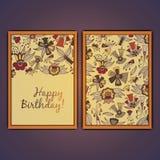 生日快乐传染媒介与抽象乱画的贺卡开花 库存照片