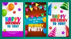 生日快乐传染媒介海报设计设置了与五颜六色的元素 免版税库存照片
