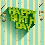 生日快乐传染媒介邀请和庆祝的贺卡设计 免版税库存照片