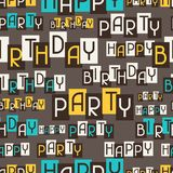 生日快乐党无缝的样式 库存图片