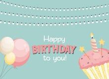 生日快乐卡片与蛋糕的Baner背景 也corel凹道例证向量 库存例证
