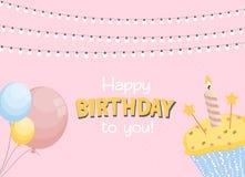 生日快乐卡片与蛋糕的Baner背景 也corel凹道例证向量 皇族释放例证