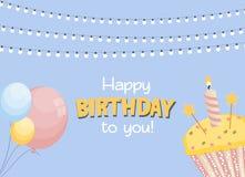 生日快乐卡片与蛋糕的Baner背景 也corel凹道例证向量 向量例证