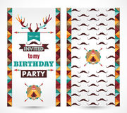 生日快乐卡片减速火箭邀请的葡萄酒 免版税库存照片