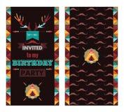 生日快乐卡片减速火箭邀请的葡萄酒 图库摄影