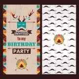 生日快乐卡片减速火箭邀请的葡萄酒 库存例证