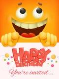 生日快乐卡片模板有黄色兴高采烈的面孔意思号背景 免版税库存图片