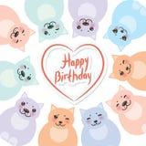 生日快乐卡片模板,滑稽的青绿的桃红色橙色肥胖猫,在白色背景的淡色 向量 免版税库存照片