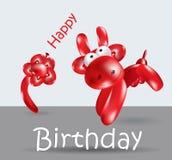 生日快乐卡片气球母牛 免版税库存照片