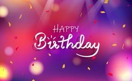 生日快乐卡片,庆祝党花梢模糊的五颜六色的抽象背景装饰纸消散五彩纸屑落,轻 皇族释放例证