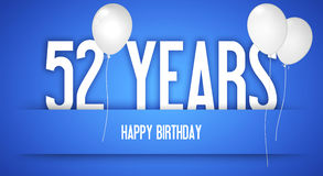 生日快乐卡片-有白色气球的男孩- 52年Greetin 免版税库存图片