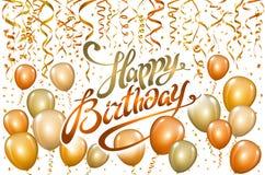 生日快乐印刷术贺卡和海报的传染媒介设计与金橙色气球,五彩纸屑, birt的设计模板 库存照片