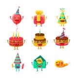 生日快乐和庆祝党标志漫画人物被设置,包括生日蛋糕,党帽子,气球,党 库存照片