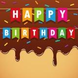 生日快乐在甜熔化的巧克力结冰的生日聚会旗子与五颜六色洒 向量例证
