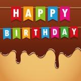 生日快乐在甜熔化的巧克力结冰的生日聚会旗子 向量例证