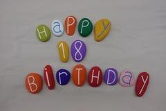 生日快乐在色的石头的18岁 免版税库存照片