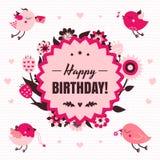 生日快乐在轻和黑暗的桃红色和棕色颜色的传染媒介卡片与鸟 免版税库存图片