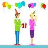生日快乐夫妇人给礼物盒 向量例证