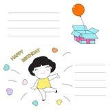 生日快乐字符纸笔记例证 向量例证