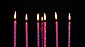 生日快乐对光检查7年,被弄脏并且吹灭 影视素材