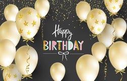 生日快乐庆祝贺卡、海报或者横幅的印刷术设计与现实金黄气球和落的confet 库存照片