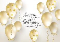 生日快乐庆祝贺卡、海报或者横幅的印刷术设计与现实金黄气球 传染媒介illustrati 免版税库存图片