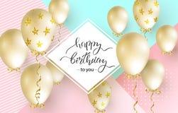 生日快乐庆祝贺卡、海报或者横幅的印刷术设计与现实金黄气球 传染媒介illustrati 免版税库存照片