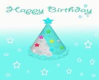 生日快乐当事人与星形的帽子看板卡 免版税图库摄影