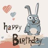 生日快乐快乐的兔子 库存照片