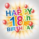 生日快乐意味祝贺问候和第十八 免版税库存照片