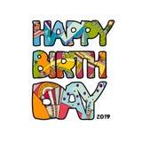 生日快乐手拉的题字 传染媒介五颜六色的乱画书法贺卡 动画片流行艺术滑稽的大胆的信件 皇族释放例证