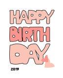 生日快乐手拉的题字 传染媒介桃红色乱画书法与心脏的贺卡 动画片滑稽的大胆的信件 库存例证