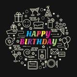 生日快乐最小的稀薄的线被设置的象 免版税库存照片