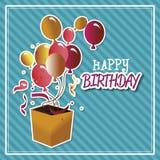 生日快乐有气球被隔绝的象设计的惊奇箱子 库存例证
