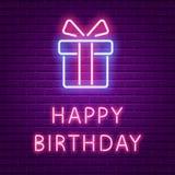 生日快乐氖发光的文本和礼物盒塑造 皇族释放例证