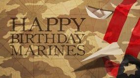 生日快乐海军陆战队员旗子伪装背景资料 免版税库存照片