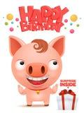 生日快乐滑稽的小的猪动画片emoji字符 免版税库存图片