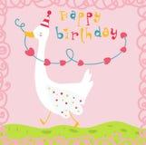 生日快乐滑稽的鹅看板卡 免版税库存照片