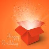 生日快乐现实魔术开放箱子 有五彩纸屑的不可思议的箱子 皇族释放例证