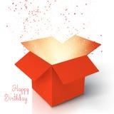 生日快乐现实魔术开放箱子 有五彩纸屑的不可思议的箱子 向量例证