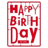生日快乐看板卡。 印刷术在字体工具箱上写字 库存照片