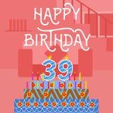 生日快乐第39老桃红色蛋糕明信片-手字法-手工制造书法 免版税库存图片