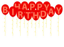 生日快乐红色气球 库存照片