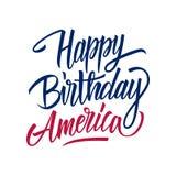 生日快乐美国手写的题字 美国美国独立日庆祝卡片模板 向量例证