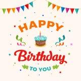 生日快乐背景传染媒介 与党旗子和五彩纸屑装饰品的生日蛋糕例证 问候,横幅 免版税库存图片